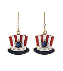 Silver Forest® Goldtone Red, White And Blue Top Hat Earrings