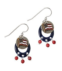 Silver Forest® Two Tone American Flag Earrings