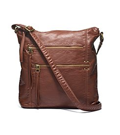 GAL Washed Grainy Double Zip Crossbody