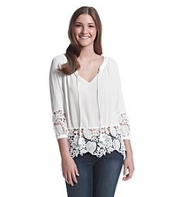 XOXO® Lace Trim Peasant Top