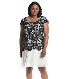 S.L. Fashions Plus Size Lace Popover Dress
