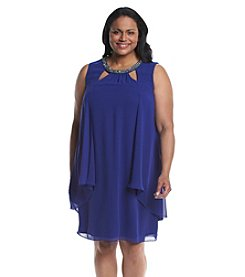 S.L. Fashions Plus Size Cutout Beaded Neckline Dress