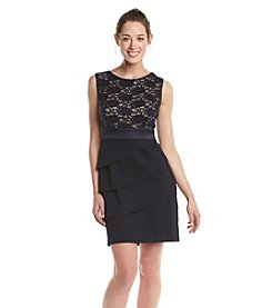 Connected® Petites' Lace Bodice Tiered Dress