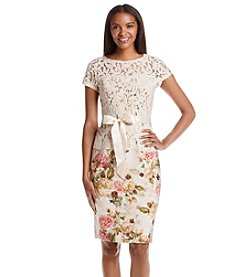 Adrianna Papell® Lace And Floral Sheath Dress