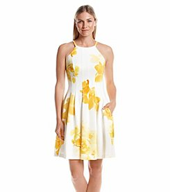 Calvin Klein Floral Scuba Fit And Flare Dress
