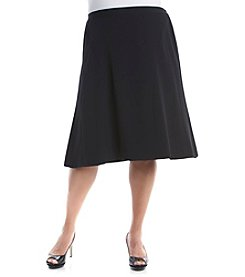 Kasper® Plus Size Solid Stretch Crepe Fit And Flare Skirt
