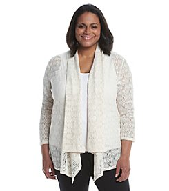 Kasper® Plus Size Lace Knit Cardigan