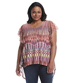 Oneworld® Plus Size Printed Lace Tee With Stud Detail