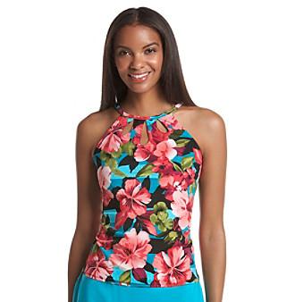Caribbean Joe® Up Town Girl High Neck Cutout Tankini Top