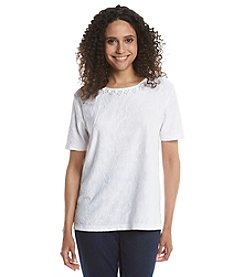 Alfred Dunner® Petites' All Aboard Lace Texured Knit Top