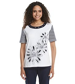 Alfred Dunner® Petites' All Aboard Floral Cut Out Knit Top