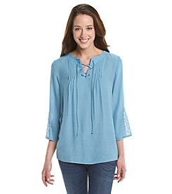 Notations® Petites' Solid Lace Up Top
