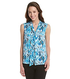 Notations® Petites' Abstract Print Tie Neck Shirt