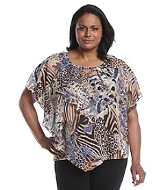 Notations® Plus Size Printed Poncho Top