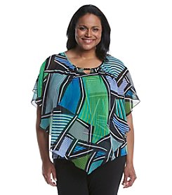 Notations® Plus Size Printed Poncho