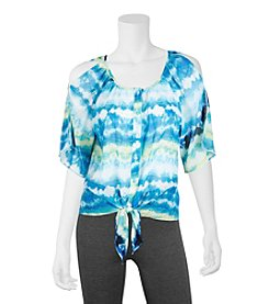 A. Byer Tie Dye Cold Shoulder Top