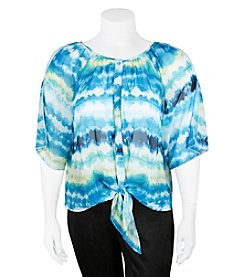 A. Byer Plus Size Tie Dye Cold Shoulder Top