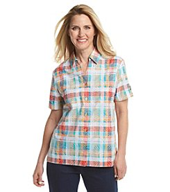 Alfred Dunner® Cozumel Burnout Plaid Shirt