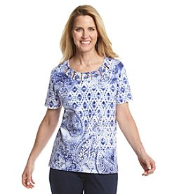 Alfred Dunner® Cyprus Paisley Diamond Knit Top