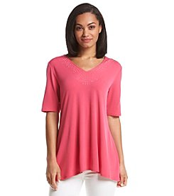 Notations® Embellished Criss Cross Knit Top
