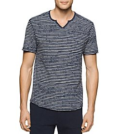 Calvin Klein Jeans® Men's Striped Slit Neck Short Sleeve Tee