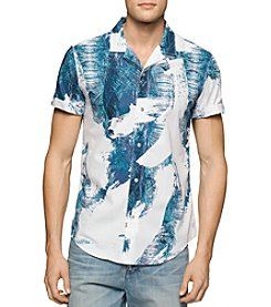 Calvin Klein Jeans® Men's Palm Print Short Sleeve Button Down Shirt