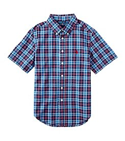 Polo Ralph Lauren Boys' 8-20 Short Sleeve Plaid Button Down Shirt