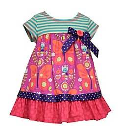 Bonnie Jean® Baby Girls' Striped Knit Yoke And Mixed Prints Dress