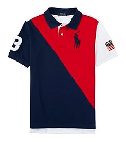 Polo Ralph Lauren® Boys' 2T-7 Short Sleeve Flag Mesh Polo