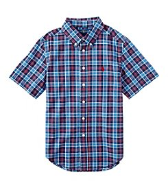 Polo Ralph Lauren Boys' 2T-7 Short Sleeve Plaid Button Down Shirt