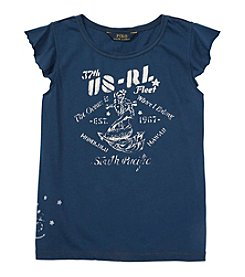 Polo Ralph Lauren® Girls' 7-16 Flutter Sleeve Nautical Graphic Tee