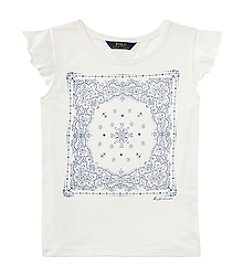 Polo Ralph Lauren® Girls' 7-16 Flutter Sleeve Bandana Graphic Tee