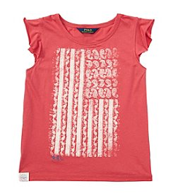 Polo Ralph Lauren® Girls' 7-16 Flutter Sleeve Paisley Flag Graphic Tee