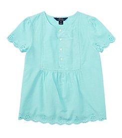 Ralph Lauren Childrenswear Girls' 7-16 Short Sleeve Eyelet Top