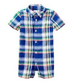 Ralph Lauren Childrenswear Baby Boys' Plaid One-Piece Shortall