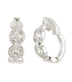 Anne Klein® Silvertone Crystal Clip Earrings