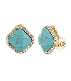 Anne Klein® Goldtone Turquoise Clip Button Earrings