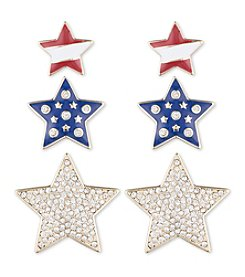 Anne Klein® Goldtone Star Trio Earrings