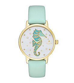 kate spade new york® Women's Mint Splash Leather And Goldtone Metro Watch
