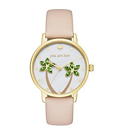 kate spade new york® Women's Vachetta Leather And Goldtone Metro Watch