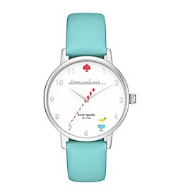 kate spade new york® Women's Island Turquoise Leather And Silvertone Metro Watch