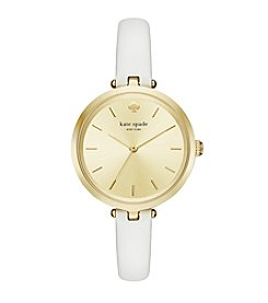 kate spade new york® Women's White Leather And Goldtone Holland Watch