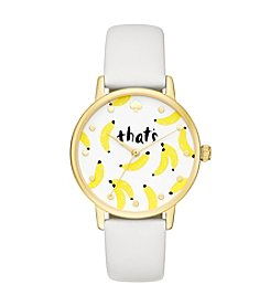 kate spade new york® Women's White Leather And Goldtone Metro Watch