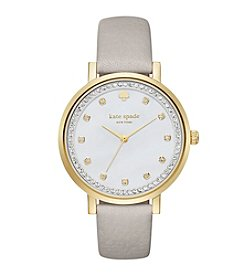 kate spade new york® Women's Clocktower Grey Leather And Goldtone Monterey Watch
