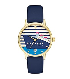 kate spade new york® Women's Navy Blue Leather And Goldtone Metro Watch