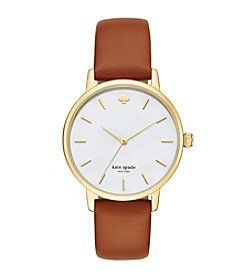 kate spade new york® Women's Luggage Leather And Goldtone Metro Watch