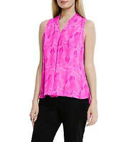 Vince Camuto® Graphic Strip Fan Invert Pleated Blouse