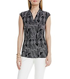 Vince Camuto® Graphic Strip Fan V-Neck Top