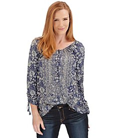 Lucky Brand® Tie Sleeve Henley Top