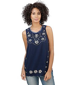 Lucky Brand® Embroidered Scoop Neck Tank